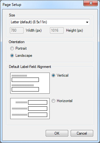 The page setup dialog contains standard settings such as orientation and size.