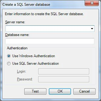 Creating an SQL server database allows the user to choose between Windows or SQL authentication.