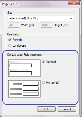 Page Setup dialog with Default Label-Field Alignment circled.