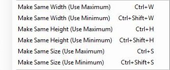 Size configuration options include make same width use maximum or use minimum, make same height use Maximum or use minimum, and make same size use maximum or use minimum.
