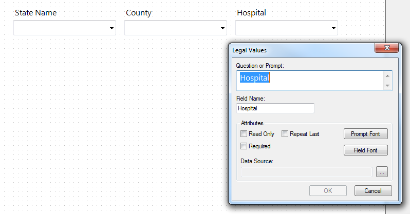 Image showing the canvas with fields for StateName, County, and Hospital, and a Legal Values Definition dialog box with the field name 'Hospital'.