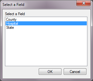 Image showing the Select a Field dialog with the field 'Hospital' selected.