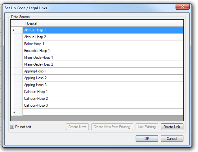 Image showing the Set Up Code / Legal Links dialog with the Data Source having one column for Hospital.