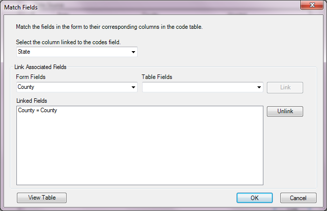 Image showing the Match Fields dialog.