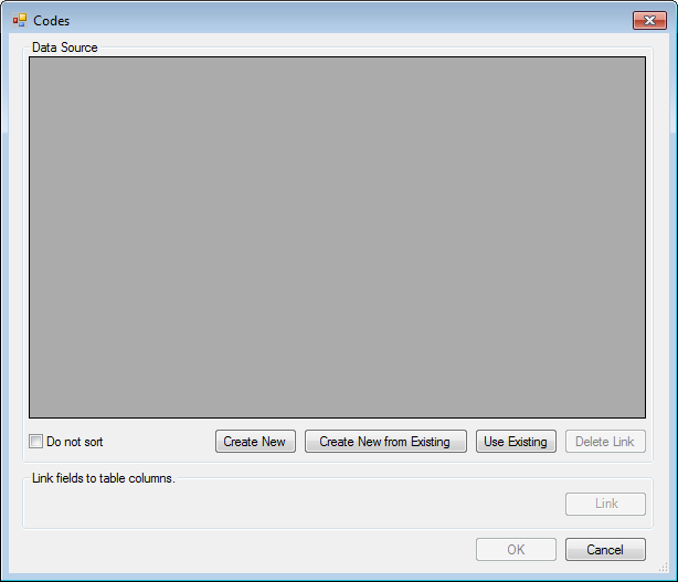Image showing the Codes Field Data Source Dialog box.