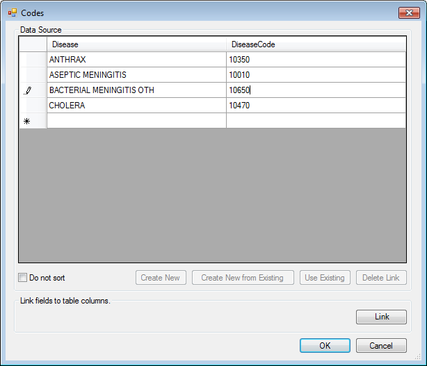 Image showing the Codes Field Data Source box with a few rows entered.