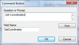 Image showing the Command Button Field Definition Dialog box.