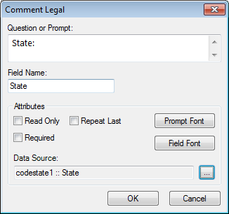 Image showing the Comment Legal Field Definition Dialog box.