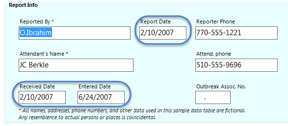 Image showing an example of a Date field in use.