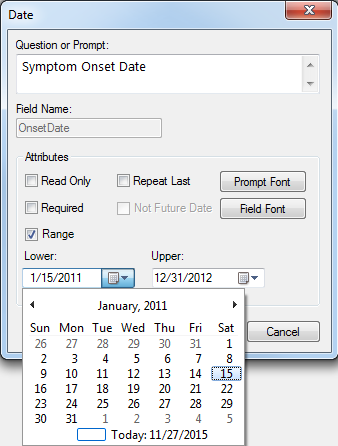 Image showing the Date Field Definition Dialog box.