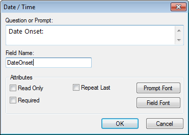 Image showing the Date-Time Field Definition Dialog box.