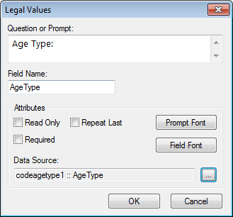 Image showing the Legal Value Field Definition Dialog box.