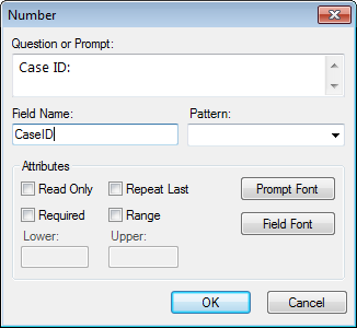 Image showing the Number Field Definition Dialog box.