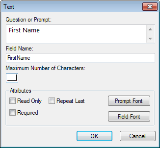 Image showing the Text Field Definition Dialog box.