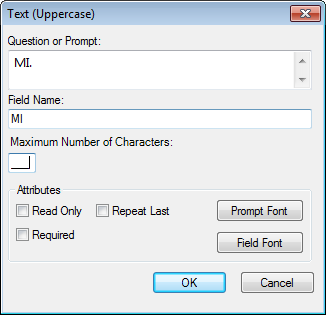 Image showing the Text Uppercase Field Definition Dialog box.