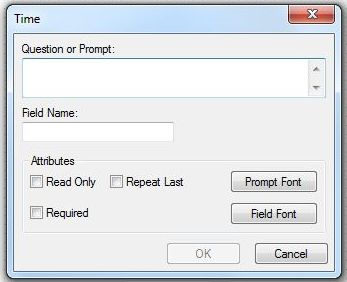 Image showing the Time Field Definition Dialog box.