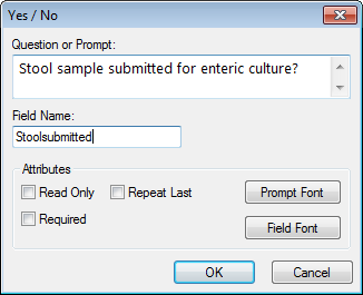 Image showing the Yes-No Field Definition Dialog box.