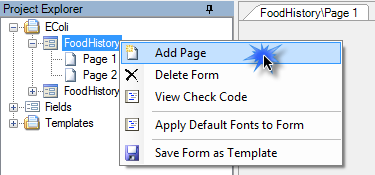 You can add a blank page at the end of the form by right clicking the form name in the Project Explorer and selecting Add Page.