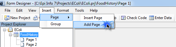 Another way to add a page is from the menu bar, click Insert, then Page, then Add Page.
