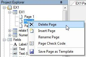 In the Project Explorer, right click the page you want to delete. Select Delete Page.