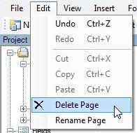 Another way to delete a page is from the menu bar, click Edit, then Delete Page.