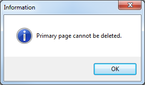 Information dialog: Primary page cannot be deleted.