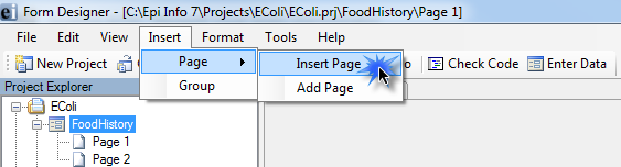 Another way to insert a page is from the menu bar, click Insert, then Page, then Insert Page. The page will be added above the current page.