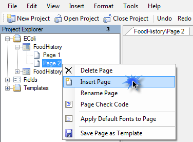 In the Project Explorer, right click the page you want to follow the inserted page. Select Insert Page.
