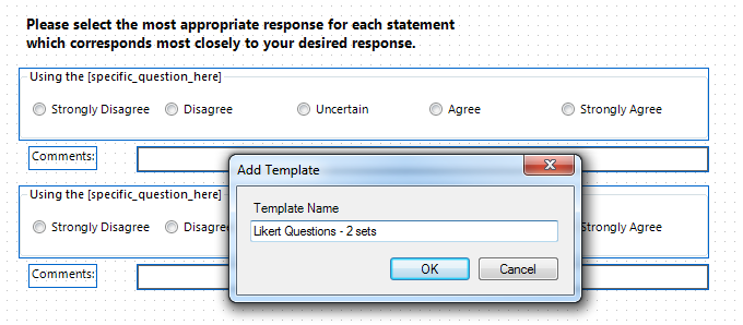 Add Template dialog is used to type the template name.