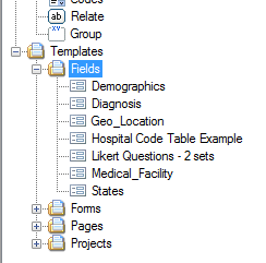 Templates > Fields in the Project Explorer tree.