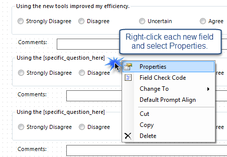 Right-click the field and select Properties.