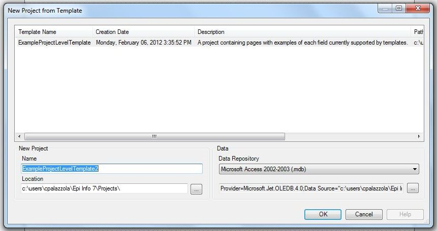 Image showing New Project from Template dialog.