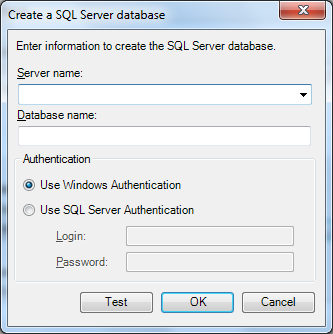 Image of the Create a SQL Server database dialog.