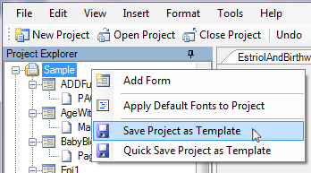 Image of the Save Project as Template menu item.