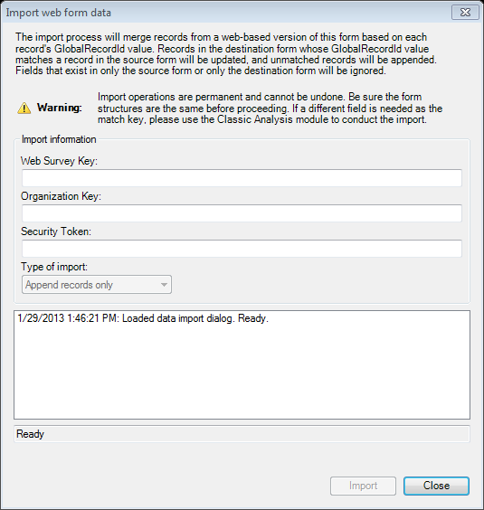 Import Web Form Data dialog box