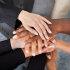 Top view of hands on hands