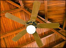 Photo of hanging ceiling fan.