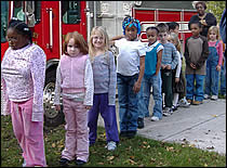 Photo of children in fire drill.