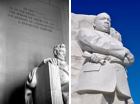 Photo: Lincoln Memorial and statue of Dr. Martin Luther King, Jr.