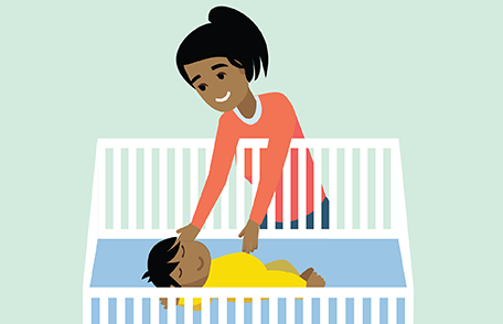 Image showing mother putting baby down to sleep in a crib