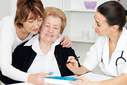 Senior mother and daughter consulting with healthcare worker