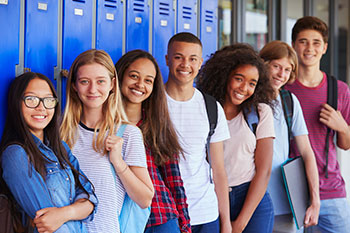 Image of diverse teenage students.