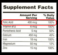 Photo: Sample of Supplement Facts label