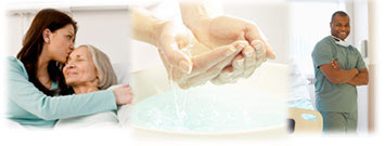 Photo: A daughter and mother. Washing hands. A healthcare professional.