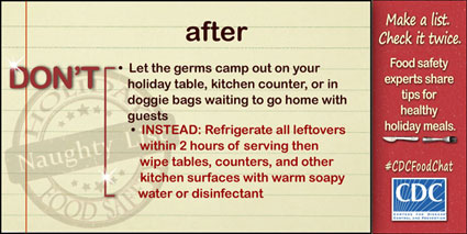 Graphic: Don't let the germs camp out on your holiday table, kitchen counter, or in doggie bags waiting to go home with guests.