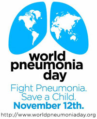 Graphics: World Pneumonia Day. Fight Pneumonia. Save a child. November 12.
