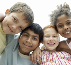 Group of multiracial children smiling