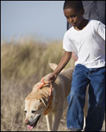 Photo: A boy and his dog.