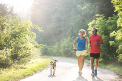 Photo: Senior couple with dog running in green sunny nature
