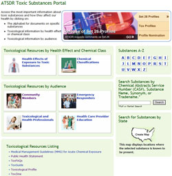 Screenshot of Toxic Substances website